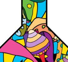 Magic mushroom pattern hippie peace symbol  Sticker