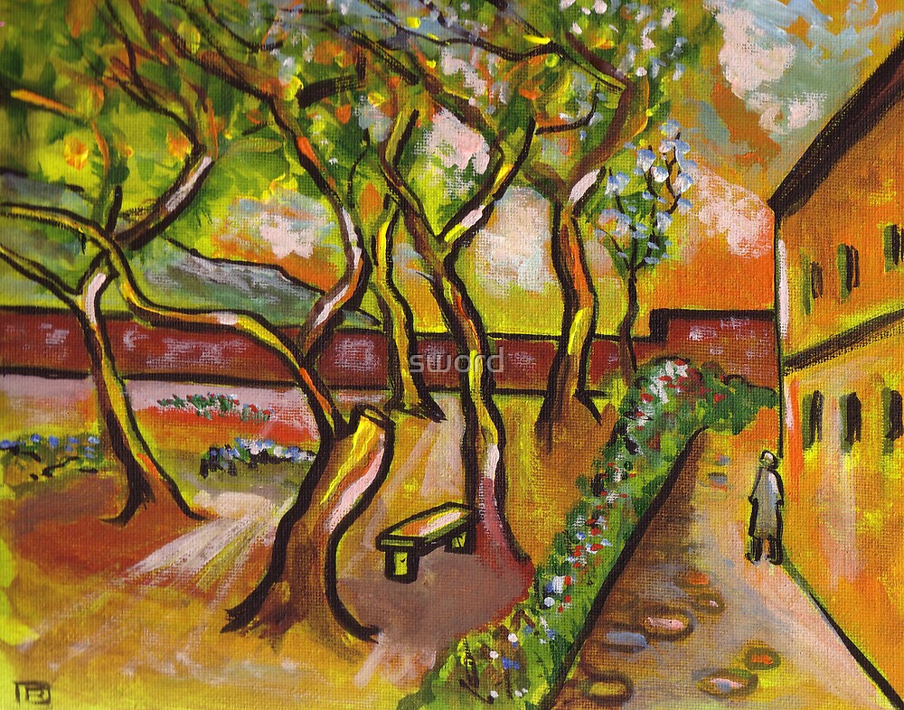 The hospital garden (from my original acrylic painting) by sword