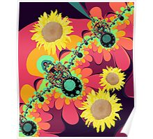 Fantasy design with Sunflowers Poster