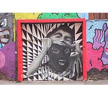 Mask checkerboard street art Cork Photographic Print