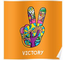 Magic mushroom pattern hippie victory hand  Poster