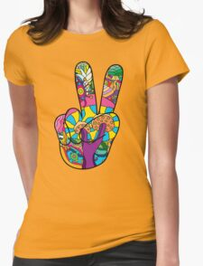 Magic mushroom pattern hippie victory hand  Womens Fitted T-Shirt