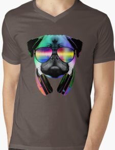 Music Love Pug Mens V-Neck T-Shirt