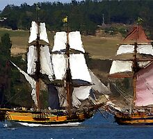 Penn Cove Sailing Ships by Rick Lawler