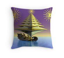 Peace tree boat Throw Pillow