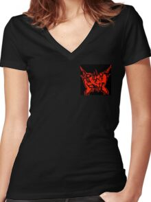 Apathetic Smile Merch (red) Women's Fitted V-Neck T-Shirt