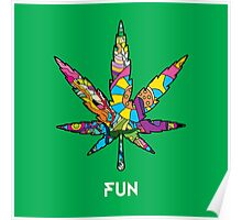 Magic mushroom pattern hippie marijuana leaf symbol  Poster