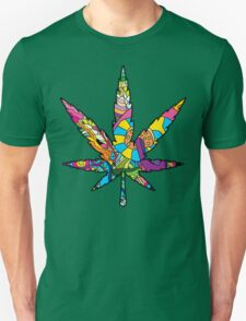 Magic mushroom pattern hippie marijuana leaf symbol  T-Shirt
