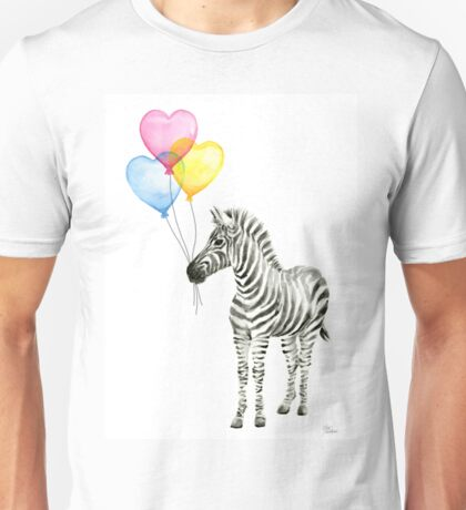 Zebra Watercolor Baby Animal with Balloons for Nursery Unisex T-Shirt