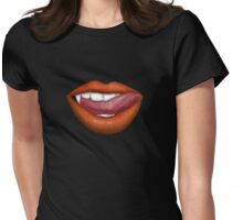 VAMPIRE LIPS - ORANGE Womens Fitted T-Shirt