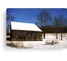Winter Barn Landscape Canvas Print