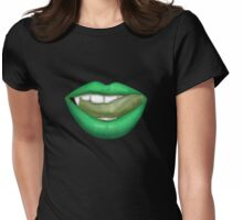 VAMPIRE LIPS - GREEN Womens Fitted T-Shirt