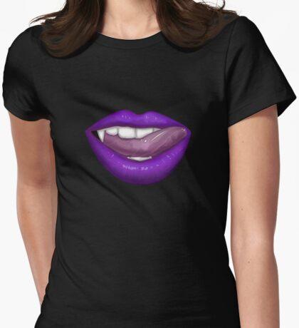 VAMPIRE LIPS - PURPLE Womens Fitted T-Shirt