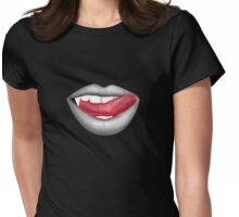 VAMPIRE LIPS - WHITE (2) Womens Fitted T-Shirt