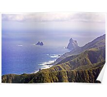 Tenerife View of Ocean and Mountains Poster