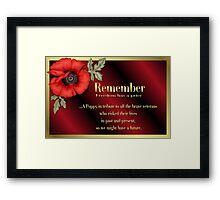 Remember Veterans Poppy Framed Print
