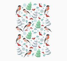 Winter birds blue pattern Unisex T-Shirt