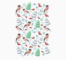 Winter birds blue pattern T-Shirt