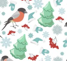 Winter birds blue pattern Sticker