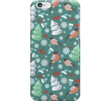 Winter birds blue pattern iPhone Case/Skin