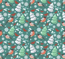 Winter birds blue pattern by JuliaBadeeva
