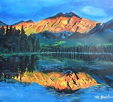 Mountain Jasper with reflection on Maligne Lake by artshop77