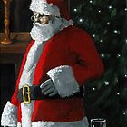 Santa Night - Xmas figurative oil painting by LindaAppleArt