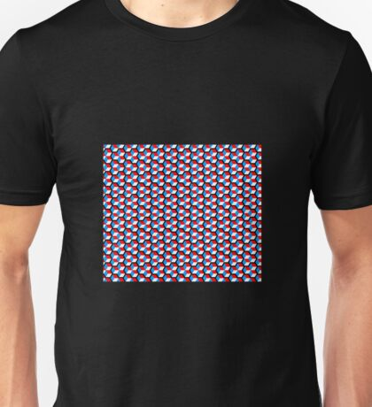 black background white red blue cubes pattern Unisex T-Shirt