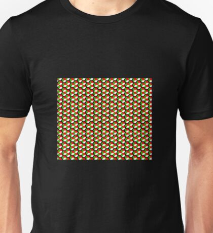 black background green white red cubes pattern Unisex T-Shirt