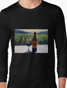 Napa Valley Wine Bottle with Red Wine Long Sleeve T-Shirt