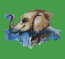 Watercolour Baby Water Elephant One Piece - Short Sleeve