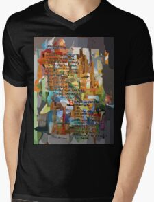 Collage Construct No. 2 with Poem Mens V-Neck T-Shirt