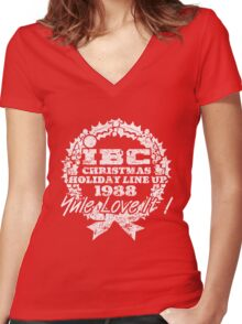 IBC Christmas Line Up- RED Women's Fitted V-Neck T-Shirt