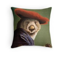 Wombat with a Red Hat Throw Pillow