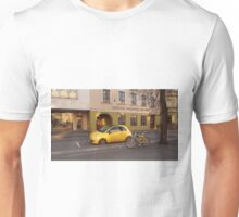 Fiat 500 and bicycle. Unisex T-Shirt