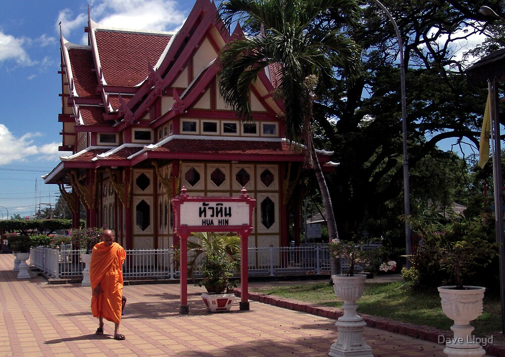 Monk At Hua Hin Station by Dave Lloyd