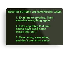 The Rules to Surving an Adventure Game Metal Print