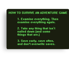 The Rules to Surving an Adventure Game Canvas Print