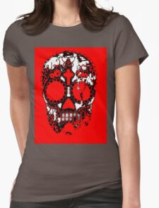 Day of the Dead Sugar Skull Grunge Design Womens Fitted T-Shirt