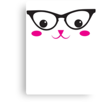 Cute kitten catty with glasses kawaii Canvas Print