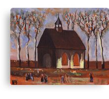 The churchgoers (from my original acrylic painting) Canvas Print