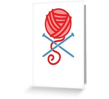 Knitting Pirate crossbones in RED! Greeting Card