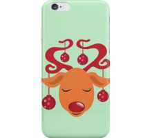 Cute red nosed reindeer with red nose iPhone Case/Skin