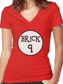BRICK 9  Women's Fitted V-Neck T-Shirt
