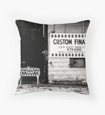 White Bench Throw Pillow