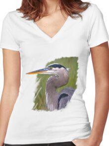 Kingly Blue Heron T-Shirt Women's Fitted V-Neck T-Shirt
