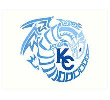 Blue Eyes White Dragon - Gradient Blue Art Print