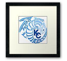 Blue Eyes White Dragon - Gradient Blue Framed Print