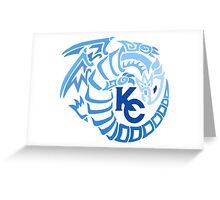 Blue Eyes White Dragon - Gradient Blue Greeting Card