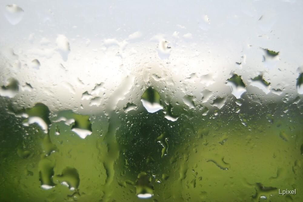Green rain drops by Lpixel